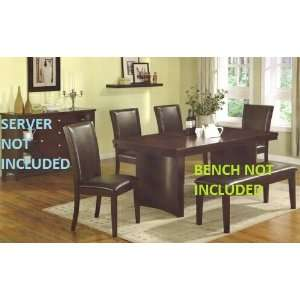 Pc Brown Dining Table Set with Faux Leather Chairs Furniture & Decor
