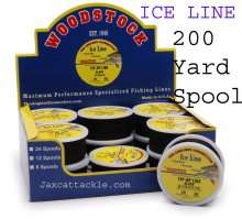 Woodstock Ice Fishing Line, black, Tan, and Red 200 Yard Spools