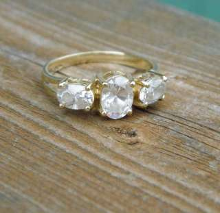Solid 10k Gold Ring with 3 Large Clear Topaz Stones Size 7