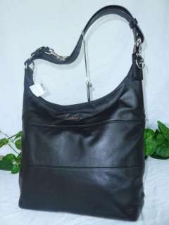 NWT COACH Black Light Weight Leather Convertible Hobo Shoulder Bag