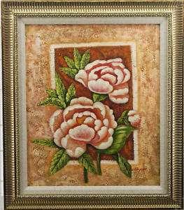 Texture Roses Flower Floral Art   FRAMED OIL PAINTING