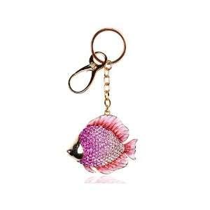 Deep Pink Enamel Ocean Saltwater Sea Fish Swarovski Crystal Rhinestone