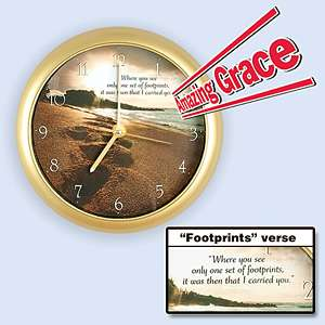 AMAZING GRACE MUSICAL WALL CLOCK W/ FOOTPRINTS POEM