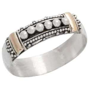 Sterling Silver Bali Style Band w/ Tiny Beads, 1/4 (6mm