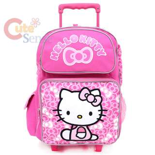 Sanrio Hello Kitty Large Rolling Backpack School Lunch Bag Set Pink