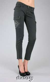 MISS ME Jeans Cargo Pants Metallic Gunmetal Cross Sz 28