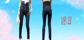 Lady Dark Blue Button up Extra High Waist Denim Jeans L