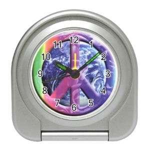 Rainbow Earth Peace Sign Fashion Travel Alarm Clock