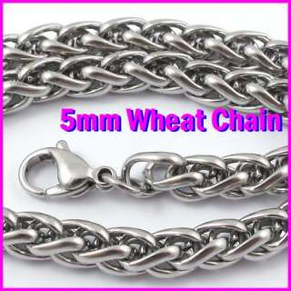 5mm GURANTEE 316LSurgical Stainless Steel Braided Braid Wheat Necklace