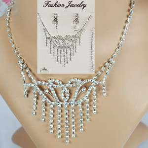 Wedding Crystal Necklace Earring Bracelet Ring Set A199