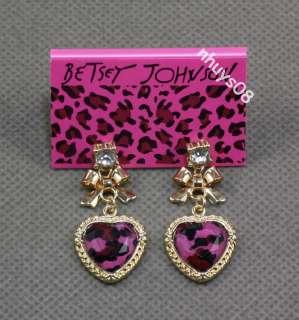 Free Ship BETSEY JOHNSON Jewelry Pink leopard heart necklace bracelet