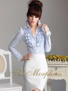 Blue Stripe Designer Lady Ruffle Collar Sleeve Shirts