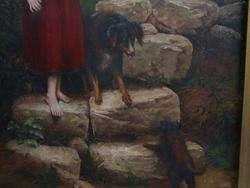 FINE PORTRAIT LITTLE GIRL W/ BORDER COLLIE DOG & PUPPY
