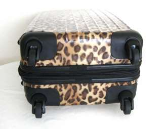 PC Luggage Set Hard Rolling 4 Wheels Spinner Leopard