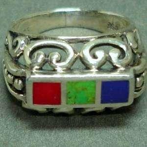 Womens Sterling Silver Multiple Gemstones Ring   Filigree Design