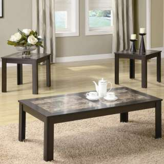 Faux Marble Occasional Coffee & End Table 3 Piece Set b