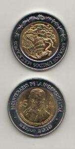 MEXICO BIMETALLIC COIN 5 PESO HERMENEGILDO GALEANA 2008