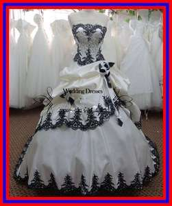 Luxury White and Black Embroidery Wedding Dress Size 6 8 10 12 14 16