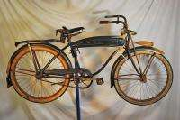 Pre War schwinn built Mead Crusader blue white bicycle bike skiptooth