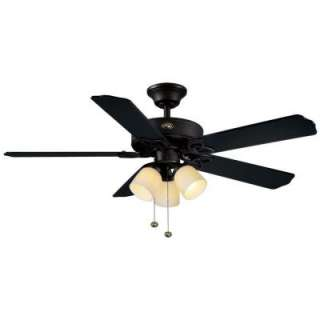 Hampton Bay 52 in. Colby Matte Black Indoor Ceiling Fan 46737 at The