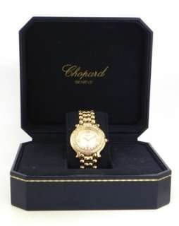 Ladies 18k Y/G Chopard Diamond Bezel Watch & Box