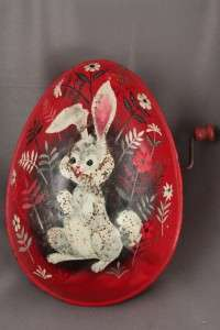 Vintage MATTEL Toy Tin Lithograph 513 Easter Bunny Egg |