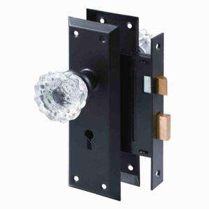 Prime Line Classic Bronze Mortise Lock Set with Glass Knobs E 2497 at