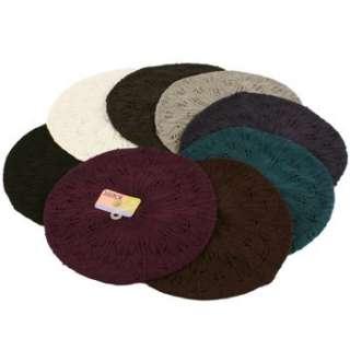 Crochet Classic Knit Light Beret Slouch Tam Hat Black