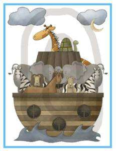 NOAHS ARK ZEBRA GIRAFFE BABY NURSERY WALL STICKER DECAL