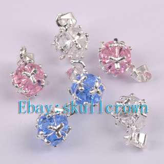 FREE SHIP 20pcs Silver Plated Mix Color Crystal Charms LP7042 18mm