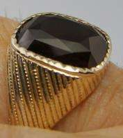 MENS RING ANTIQUE VINTAGE COLLECTIBLE DECO ESTATE RUBY 9K YELLOW GOLD