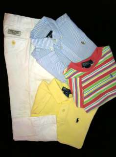RALPH LAUREN Boys White Chino Dress Pants Seersucker Oxford POLO Shirt