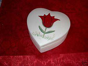 1970s Holland Mold Ceramic Heart Trinket Box/Dish Tulip