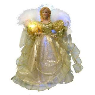 Home Accents Holiday 12 in. LED Gold Fiber Optic Angel Tree Topper