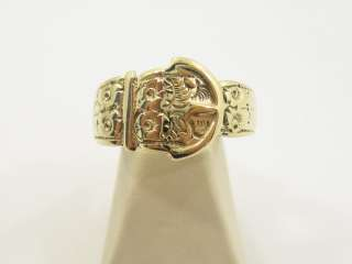 MENS 8KT YELLOW GOLD BUCKLE RING CUSTOM /HAND ENGRAVED