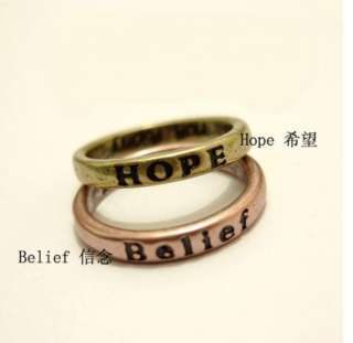 Pcs HOPE LOVE LUCK PEACE Free Belief Wisdom Courage Ring 17