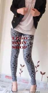 DAREK HEART LEOPARD PRINT LEGGINGS TIGHT PANTS GREY