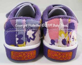 Girls Tennis Shoes Purple Flower Velcro Canvas Athletic