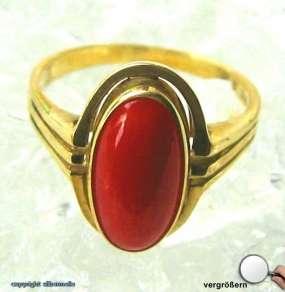 Korallenring Antikring Gold Ring Ringe 8Kt 333 Gold Damen Koralle