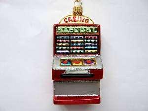 LAS VEGAS CASINO SLOT MACHINE GLASS CHRISTMAS ORNAMENT