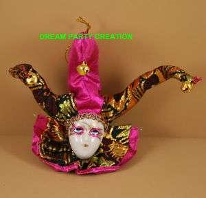 porcelain JESTER MASK Mardi Gras OrnamentFAVOR FUCHSIA |