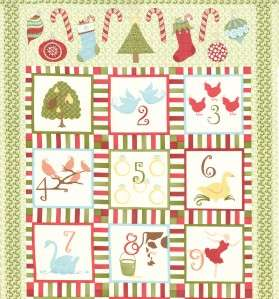 Moda 12 Days of Christmas Kate Spain Green Fabric Panel