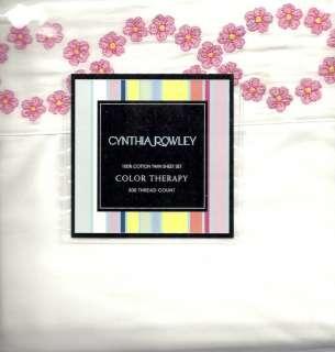 CYNTHIA ROWLEY EMB PINK YELLOW FLOWER TWIN SHEET SET