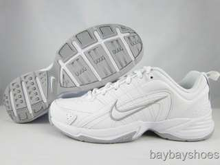 NIKE T LITE VIII 8 LEATHER WIDE WHITE/GRAY/SILVER CROSS TRAINER WOMENS