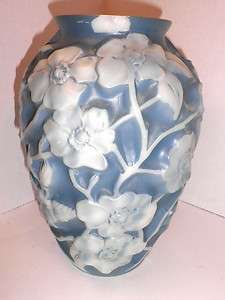 Vintage Phoenix Art Glass Blue & White Flowered Vase As Is