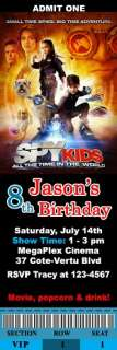 Spy Kids 4 / Dolphin Tale Movie Birthday Party Ticket Invitations VIP