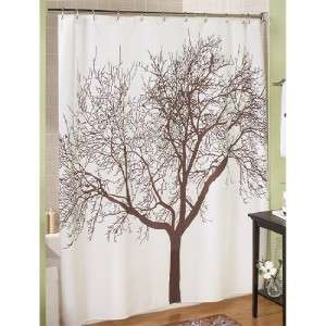New Brown Bare Branch Tree Fabric Shower Curtain