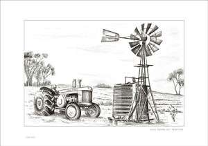 JOHN DEERE 820 TRACTOR RUSTIC COUNTRY FARM DRAWING