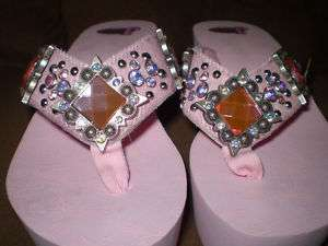 Justin Jeweled Crystal Flip Flop Sandals Leather Jessi