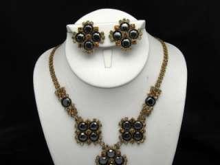 Dramatic Vintage CZECH Necklace Earring Set Hematite Amber Rhinestone